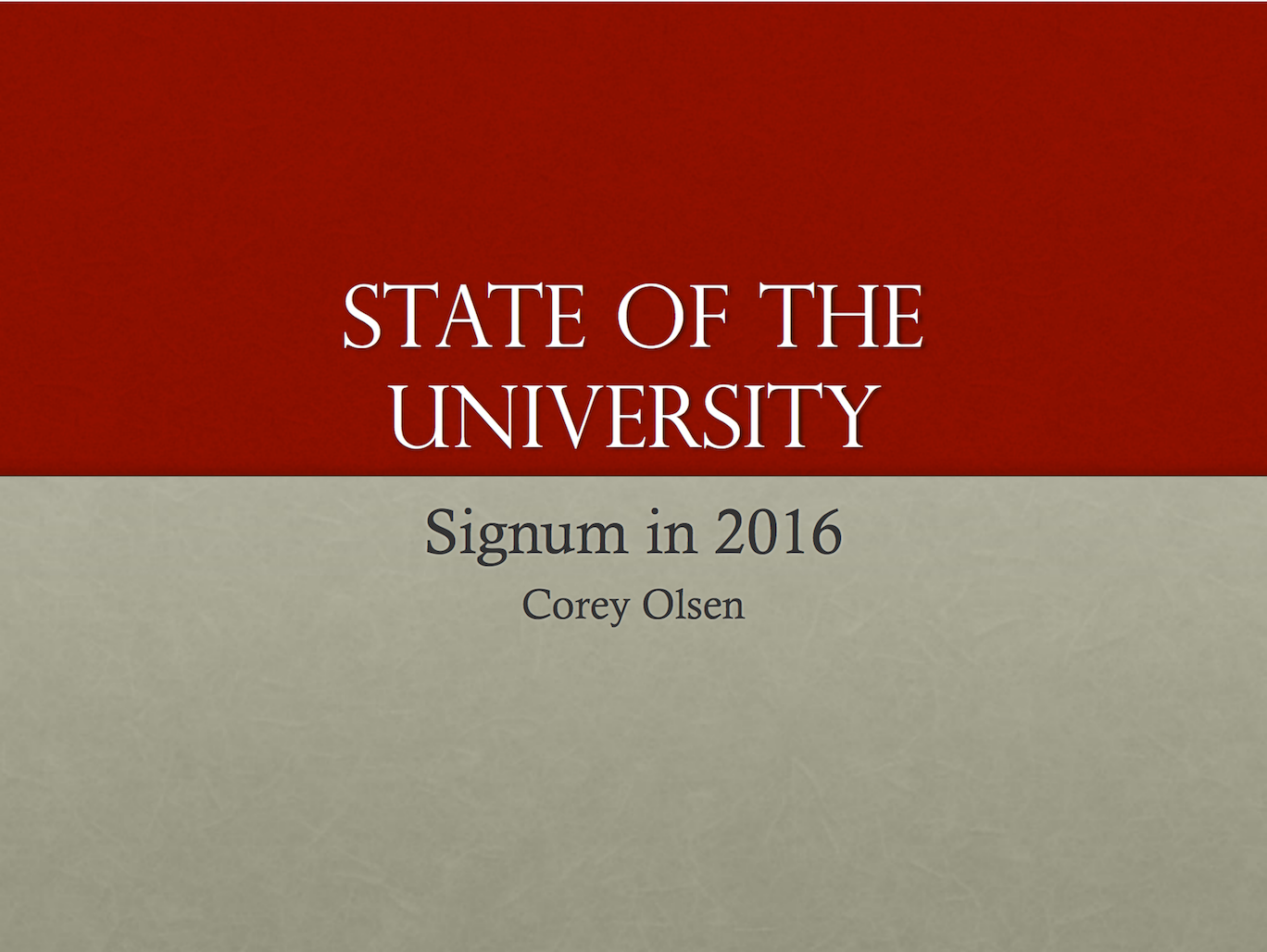 State of the University in 2016