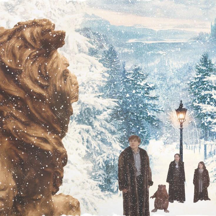 Aslan, Peter, Susan, Lucy and Mr. Badger