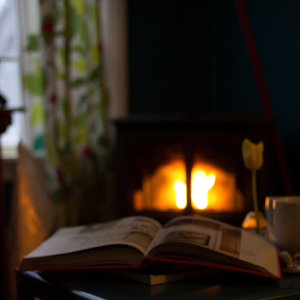 Book by the fireplace