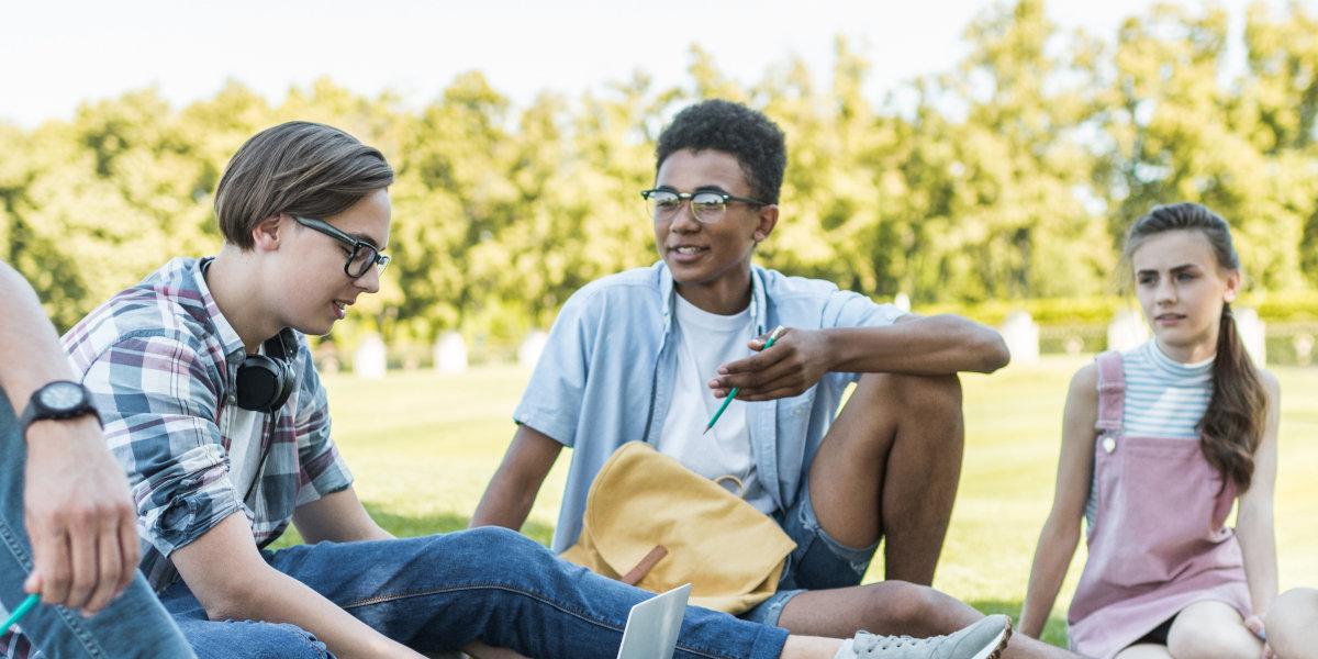 Teens conversing